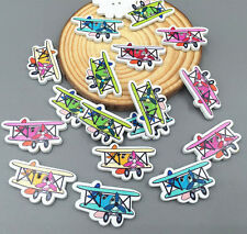2 Holes Aircraft Wooden Buttons Sewing Scrapbook Decorative crafts wood 30mm