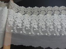 1yard cotton lace trim,DIY embroidered floral lace trim,off  white trimming