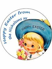 30-90 PRE-CUT EDIBLE WAFER CUP CAKE TOPPERS PERSONALISED VINTAGE EASTER SUNDAY