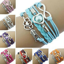Newly Infinity Love Heart Pearl Friendship Antique Silver Leather Charm Bracelet