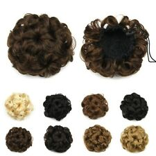 Wavy Curly Synthetic Hair Bun Hairpiece Clip in Scrunchie Hair Extensions B79