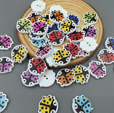 50 / 100PCS Ladybug Beetle Wooden Buttons Sewing and Scrapbook 2 holes 15mm