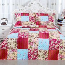 English Rose Collection Red Floral Patchwork Reversible Cotton Quilt Set