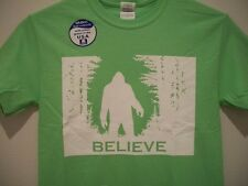 New BELIEVE BIGFOOT T-SHIRT Mens Sasquatch Big Foot Green