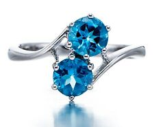 Round cut 6mm Swiss Blue Topaz Gemstone Solid Sterling Silver 925 Ring