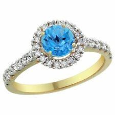 14K Yellow Gold Natural Swiss Blue Topaz Ring Round 6mm Diamond Accents