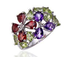 Natural Garnet, Amethyst, Peridot Gemstone Solid 925 Sterling Silver Flower Ring