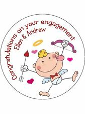 30-90 PRE-CUT EDIBLE WAFER CUP CAKE TOPPERS ENGAGEMENT ANY NAMES CUTE CUPID