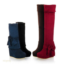 Fashion Womens Over The Knee High Boots High Heels Bow Shoes  Size 4-7.5 OB269