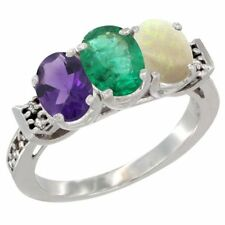 14k White Gold Natural Amethyst, Emerald & Opal 3-Stone Oval Cut 7x5mm Ring