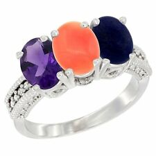 14k White Gold Natural Amethyst, Coral & Lapis 3-Stone Oval 7x5mm Diamond Ring