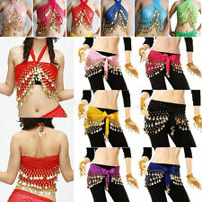 3Rows Gold Women Coin Belly Dance Costume Hip Scarves Skirt Belt Dancing Wraps