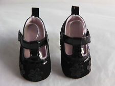 Baby Girl Pre-Walker formal Velor/Patent daisy pattern T bar  strap shoe - BLACK