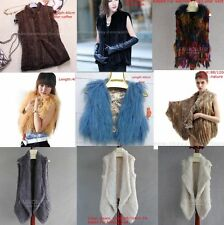 100% Real Knitted Rabbit Fur/MinkFur/Sheep Fur/Fox Fur Veat Coat Jacket -customi