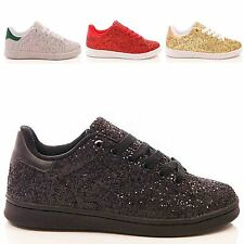 LADIES TRAINERS GLITTER PUMPS CASUAL SLIP ON SKATER FLAT FASHION SHOES SIZE