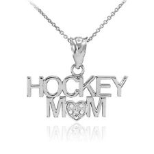 925 Silver HOCKEY MOM Heart CZ Pendant Necklace