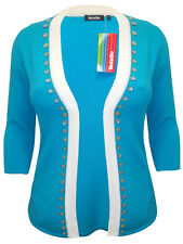 Ladies open front edge to edge cardigan 3/4 sleeves and button trim  18-22