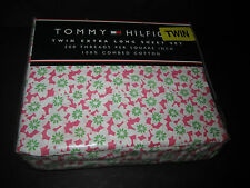 Tommy Hilfiger KIMONO FLORAL PINK Flowers Twin XL Sheet Set 100% Cotton NIP