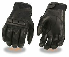 LADIES LEATHER & MESH PROTECTIVE PADDED KNUCKLES & FINGERS RIDING GLOVES KNUCLES
