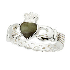 Sterling Silver Irish Claddagh Ring with a Connemara Marble Heart by Solvar