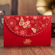 Golden Butterfly Laser Cut out Floral Red Wedding Invitation Cards & Envelopes