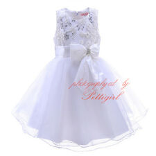 Sequined Bow Flower Girl Dress Princess Kids Pageant Party Wedding Birthday Gown