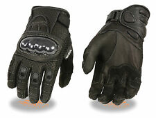 MEN'S PERFORATED LEATHER  GLOVES WITH  PADDED PALM, HARD CARBON KNUCKLES