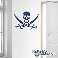 Jolly Roger Pirate Symbol Vinyl Wall Decal skull crossed swords sticker K009-W