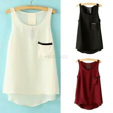 Women Crew Neck T-Shirt Chiffon Blouse Pocket Tank Top Cami Vest Singlet Shirt