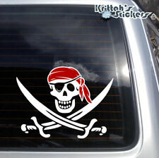 Jolly Roger Pirate Skull with Eye Patch and Red Bandana Vinyl Decal sticker K599