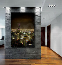 Chicago City At Night Skyline Canvas Fine Art Poster Print Home Wall Decor