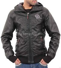 Ecko Mens Boys College Varsity Bomber Bikers Black Hooded Faux Leather Jacket ES