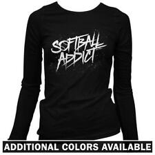 Softball Addict Women's Long Sleeve T-shirt - LS S-2X Player Girl Fastpitch Mom