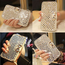 NEW Women Wallet Bling Crystal Diamond Leather Case Cover Protector For iPhone