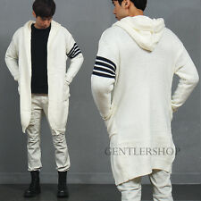 Men's Fashion Striped Arm Open Front Pocket Hooded Long Knit Cardigan, GENTLER