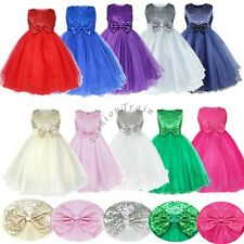 Flower Girl Dress Sequinned Wedding Bridesmaid Formal Pageant Recital Graduation