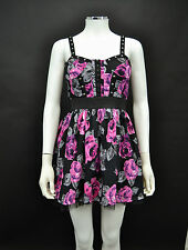 NEW LADIES HEAVEN BLACK & PINK FLORAL COTTON 50S STYLE SHORT DRESS SIZE  8 to 14