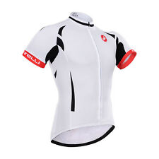 Hot Sale New Mens Cycling Jersey Shirt Short Sleeve Bike Riding White Size S-3XL