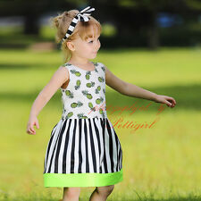 Fruits Striped Beach Girls Dress Kids Casual Holiday Princess Summer Sundress