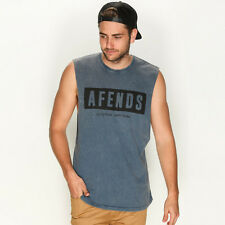 New Afends Block Muscle Tank in Blue | sale Mens Sale Mens Sale Singlets