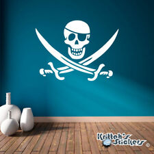 Jolly Roger Pirate Skull with Eye Patch & Crossed Swords Vinyl Wall Decal K016-W