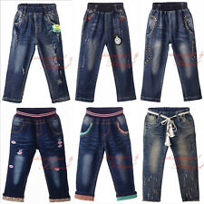 Boy Girls Slim Skinny Jeans Denim Pants Toddler Chirldren Elastic Waist Trousers