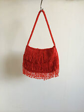 New womens/ladies red/gold beaded clutch bag, evening bag, vintage style