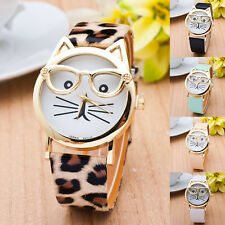 Fashion Women's Cute Glasses Cat Analog Quartz Dial Leather Strap Wrist Watches