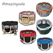 """45"""" Dog Cat Pet Playpen Puppy Soft Exercise Play Fence Folding Crate Kennel US"""