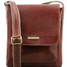 TUSCANY LEATHER shoulder crossbody bag for men with front pocket made in Italy