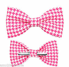 Shocking Pink / White Houndstooth Clip On Cotton Bow Tie Bowtie ~ Men / Boys