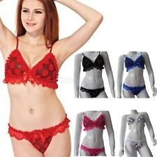 Women Sexy Floral Sheer Lace Lingerie Bra Set Top G-string See-through Nightwear