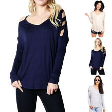 Casual Solid Cutout Shoulder Long Sleeve V-Neck Tunic Top Rayon Spandex S M L