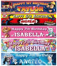 Personalised Birthday Party Banners Kids Characters Hanging Decoration